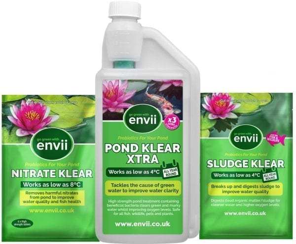 front view of Envii Annual Pond Treatment Xtra packaging our pond water treatment