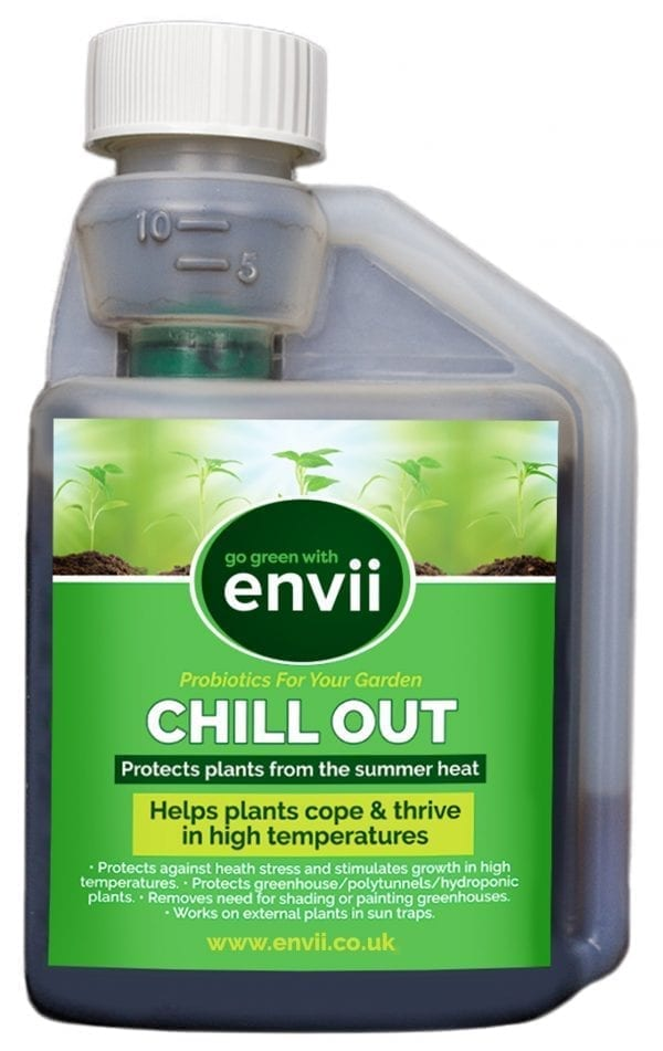 front view of Envii Chill Out Concentrate bottle our sun protection for plants
