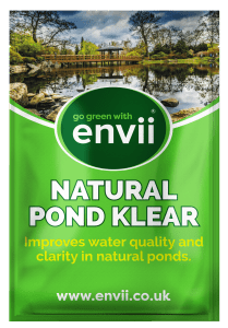 front view of Envii Natural Pond Klear packet for our green water treatment
