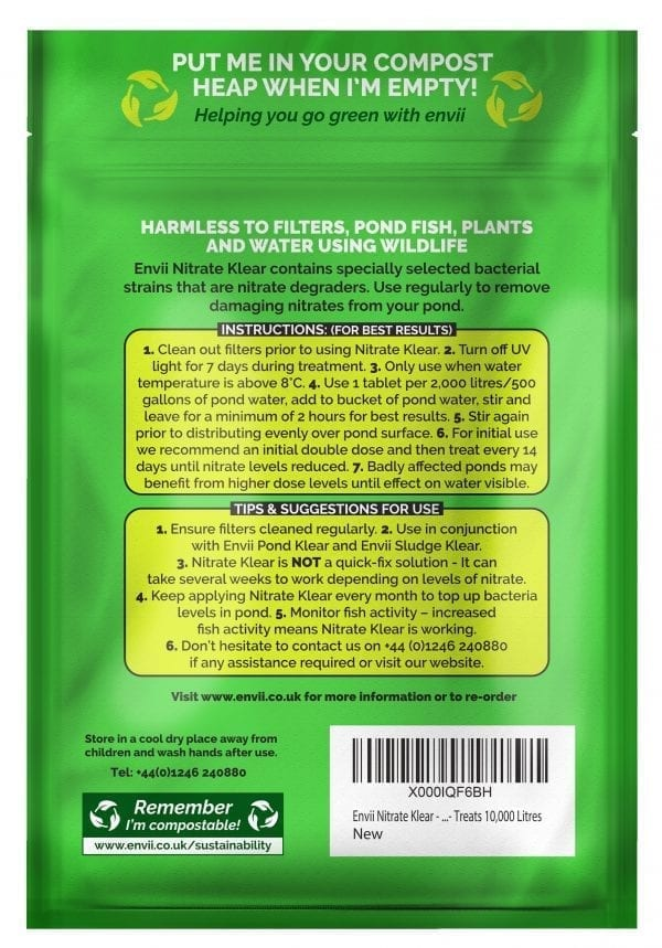 rear view of Envii Nitrate Klear packet our nitrate remover for ponds