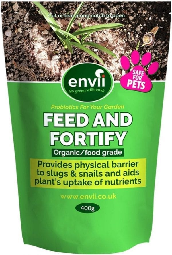 front view of Envii Feed and Fortify packet our organic slug control