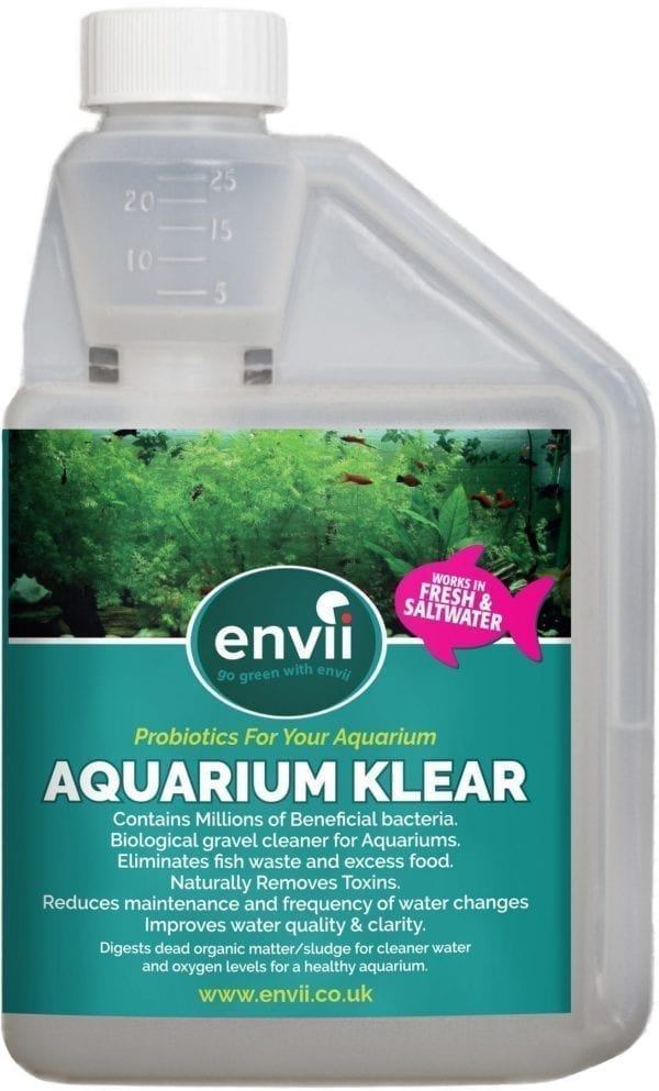 front view of Envii Aquarium Klear bottle to clear green aquarium water