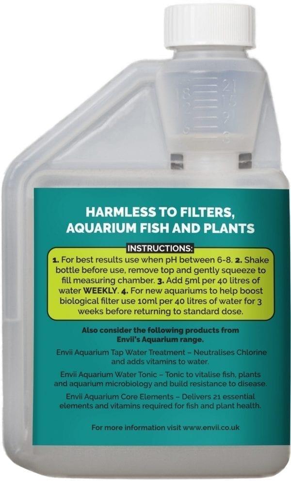 rear view of Envii Aquarium Klear bottle to clear green aquarium water