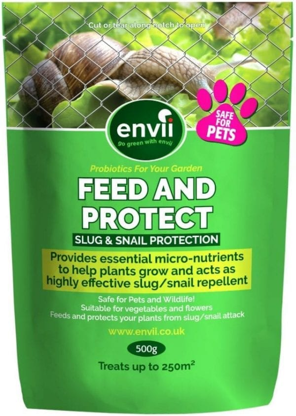 front view of Envii Feed and Protect packet our slug deterrent