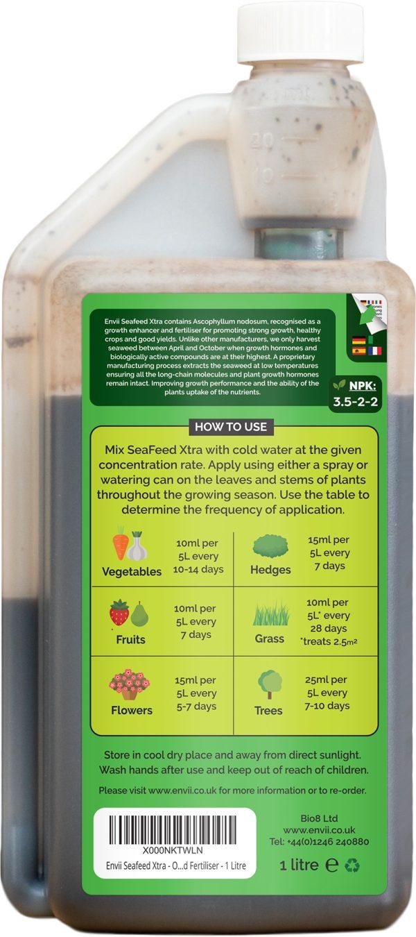 rear view of Envii Seafeed Xtra bottle our liquid seaweed fertiliser