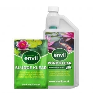 front view of Envii Pond Klear Xtra and Envii Sludge Klear packaging our green pond water cure