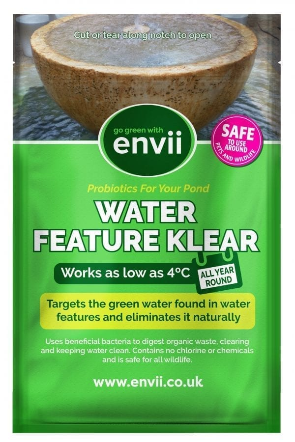 front view of Envii Water Feature Klear packet our water feature cleaner