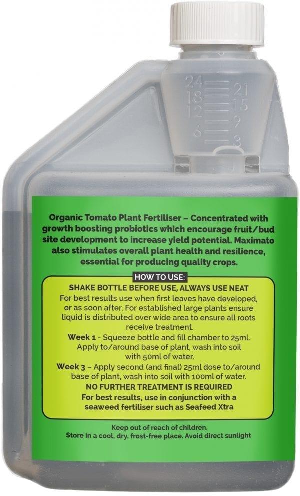 rear view of Envii Maximato bottle our organic tomato fertiliser