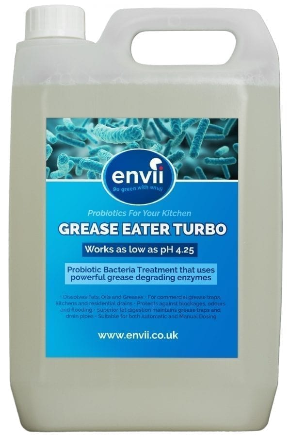 front view of Envii Grease Eater Trubo bottle our grease trap eznyme treatment