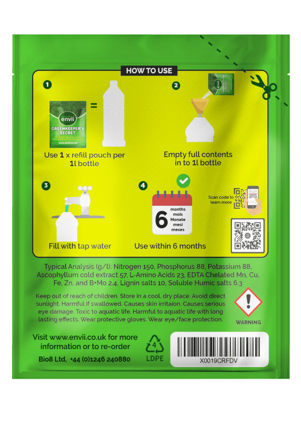 Rear of Greenkeepers 100ml refill packet with instructions