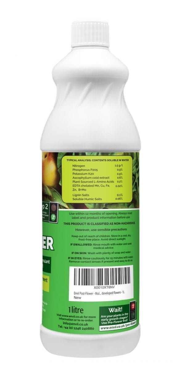Envii Post-Flower organic multi purpose fertiliser botlle