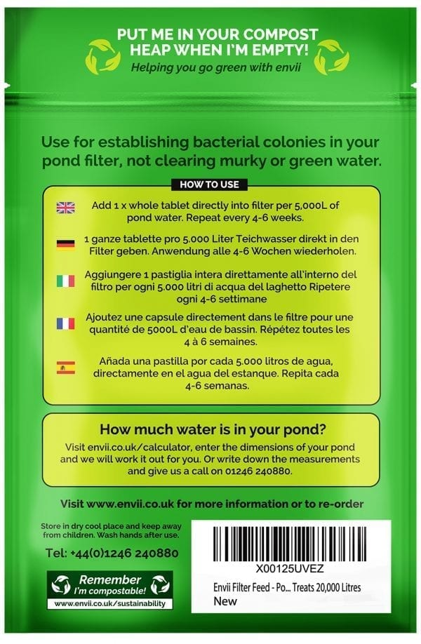 Envii Filter Feed pond filter bacteria