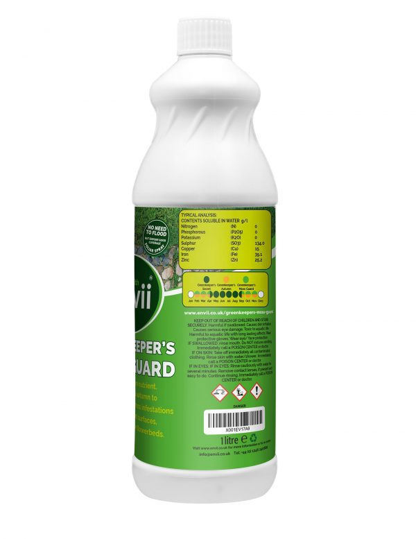Envii Greenkeeper's Moss Guard typical analysis moss treatment for lawns